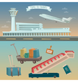 Time to Travel by Airplane Airport with Plane vector image
