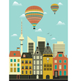 Hot air balloon over city vector image