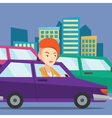 Angry caucasian woman in car stuck in traffic jam vector image