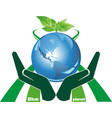 ecological symbol - a blue planet in the palms vector image