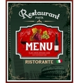 Vintage italian restaurant menu and poster design vector image