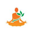 meditaion yoga leaf logo vector image