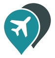Airport Map Markers Flat Icon vector image