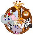 safari animal cartoon in frame vector image