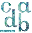 Green-blue watercolor font ABCD vector image