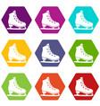 skates icon set color hexahedron vector image