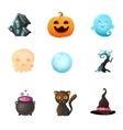 Icon set Halloween vector image