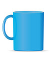 blank bright blue photo realistic cup isolated on vector image