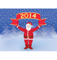 Santa with New Year banner vector image vector image