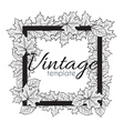 Vintage monochrome frame with leaves for design vector image vector image