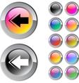 Back arrow multicolor round button vector image