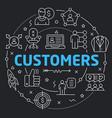 black line flat circle customers vector image
