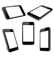 black mobile phone templates set isolated vector image