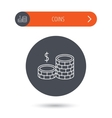 Coins icon Dollar cash money sign vector image