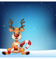 Cute deer holding Christmas candy on a night sky vector image