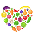Fruits and vegetables heart vector image