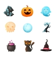 Icon set Halloween vector image