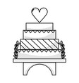 line delicious and sweet cake to celebrate design vector image