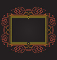 Mono line Ornate frame with floral elements vector image