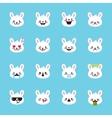 rabbit emoticons collection Cute emoji set vector image