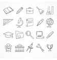 Set of school icons on white vector image