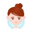unhappy teen girl struggling acne vector image