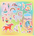 unicorn multicolor stickers with rainbow unicorn vector image