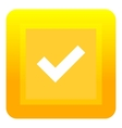 Yellow square button icon flat style vector image