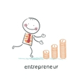 entrepreneur builds a graph from coins vector image vector image