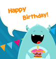 Monster With Cake vector image vector image