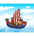 Boy and girl riding on viking with pirate vector image