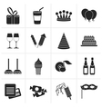 Black birthday and party icons vector image vector image