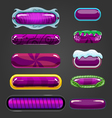 Set of purple button for game design vector image