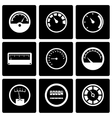 black meter icon set vector image