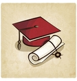 Graduation cap and diploma old background vector image