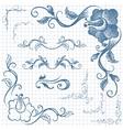 Ink hand-drawn line border set vector image