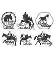 set of horse racing labels in vintage retro vector image