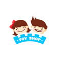 toy store logo cute kids shop symbol vector image