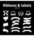 White ribbons and labels set vector image