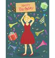 Red Dress Birthday Girl vector image
