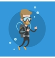 Man diving with scuba and showing ok sign vector image vector image