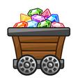 Mine cart with Diamonds vector image