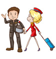 A simple sketch of a pilot and a stewardess vector image