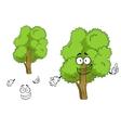 Cartoon deciduous green tree character vector image vector image