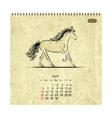 Calendar 2014 april Art horses for your design vector image
