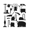 Cleaning equipment black silhouette set vector image