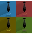 Color set Hipster tie Flat modern web button with vector image