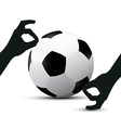 Hands Holding Football Ball on White Background vector image