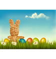 Retro holiday Easter background with straw rabbit vector image