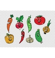 Set of fresh cute vegetable characters vector image